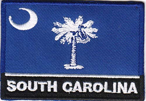 USA State United States Iron on Flag Patch Heat Seal Multicolor Applique (South Carolina -