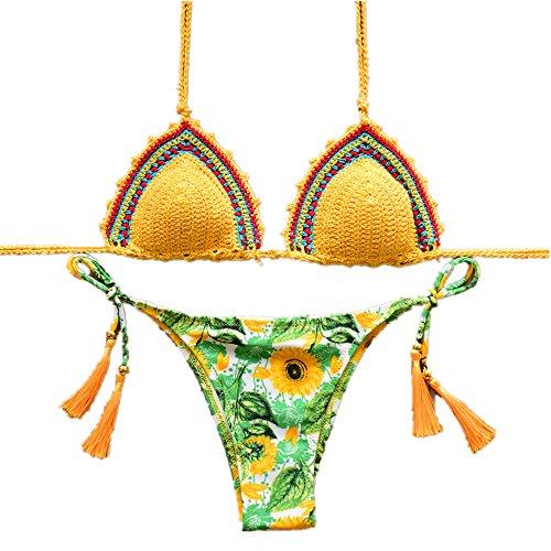 YC FASHION Women's Colorful Handmade Crochet Halter Bikini Set Swimsuit Sexy Swimwear (Medium, White-heart)