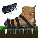 Voulosimi Lawn Aerator Spike Shoes Aeration Sandals Heavy Duty Spiked Sandals Use Premium Grass Aeration Sandals with Heavy Duty Metal Buckles