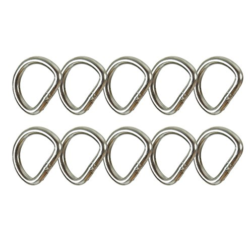 "Fusion Climb Mini 1"" Spotting D-Ring Ultra Light Carbon Steel Silver 10-Pack by Fusion Climb"