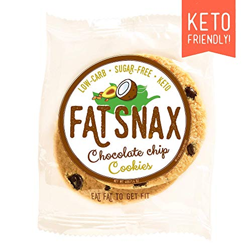 Fat Snax Cookies - Low Carb, Keto, and Sugar Free (Chocolate Chip, 12-pack (24 cookies)) - Keto-Friendly & Gluten-Free Snack Foods Cookie Diet Chocolate Chip