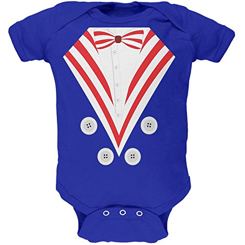 Halloween Uncle Sam Costume Soft Baby One Piece Royal 3-6 (Young Uncle Sam Childrens Costumes)