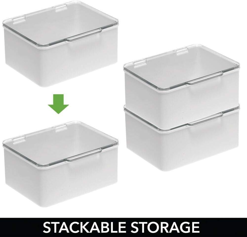 Praticissimo Porta Cucito in plastica Comodo Organizer scrivania mDesign Set da 4 Piccoli portaoggetti con Coperchio Trasparente