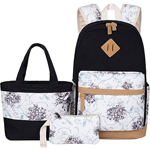 BLUBOON Canvas School Backpack Set 3 Pieces Lightweight Teen Girls Bookbags Tote Bag Pencil Case (Black-flower)