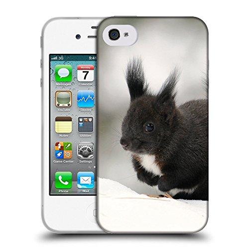 Just Phone Cases Coque de Protection TPU Silicone Case pour // V00004129 Bêtes écureuil noir dans la neige // Apple iPhone 4 4S 4G