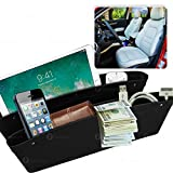 Zone Tech Car Seat Gap Filler Pocket Organizer - Classic Black Premium Quality Coin Side Pocket Filler Gap Organizer for Phones, Wallet, and Many More