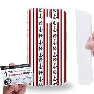 Case88 [Samsung Galaxy E5] Gel TPU Carcasa/Funda & Tarjeta de garantía - Art Nautical Prints Striped Anchors Nautical Symbols Art1625