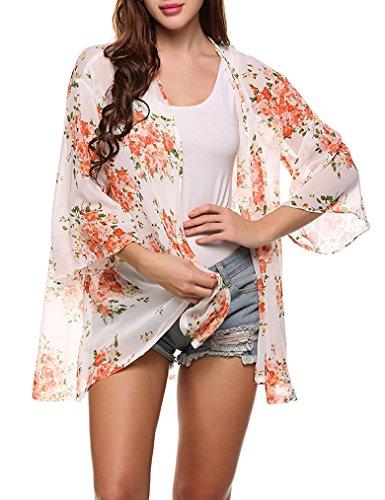 Womens Sleeve Floral Chiffon Cardigan
