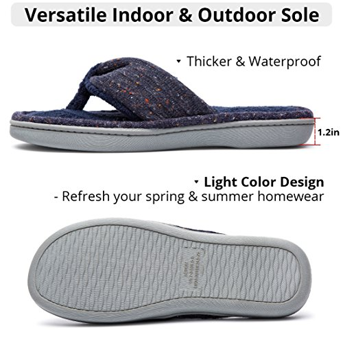 Women's Soft & Comfy Knitted Plush Fleece Lining Memory Foam Spa Thong Flip Flops House Slippers (Large/9-10 B(M) US, Navy Blue) by HomeTop (Image #4)