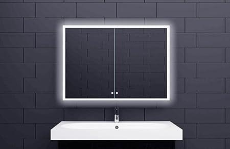 Specchio Bagno Led 100.Mobile Specchio Estafa Illuminazione Led 100 X 70 Cm Mobile Bagno