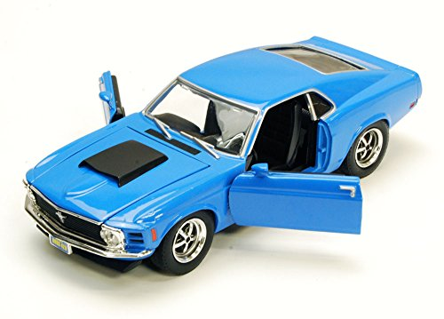 1970 Ford Mustang Boss 429, Blue - Motormax 73303 - 1/24 Scale Diecast Model Toy Car