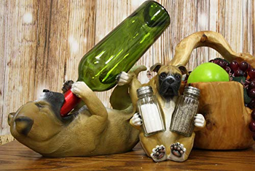 Ebros Gift Realistic Fawn Boxer Puppy Dog Salt Pepper Shakers Holder And Wine Caddy 2 Piece Set Resin Dogs Boxers Memorial Pets Home Kitchen Organizer Figurine For Spices And Alcoholic Beverage Bottle from Ebros Gift