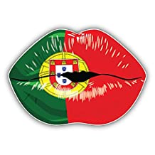 Portugal Flag Lips Art Decor Bumper Sticker 5'' x 4''