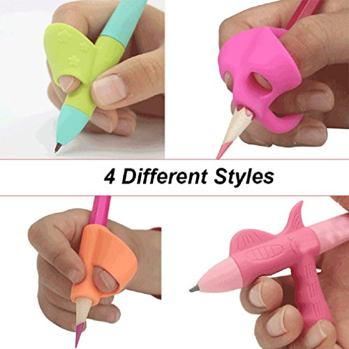 Unique Grip Pen - Silicone Pencils Grip Holder 4PCS Pen Writing Aid Grip Posture Correction Tool, Comfy Grips for Improving Writing, Best Effective for 3 to 12 Years Kids Children Students Kindergarten