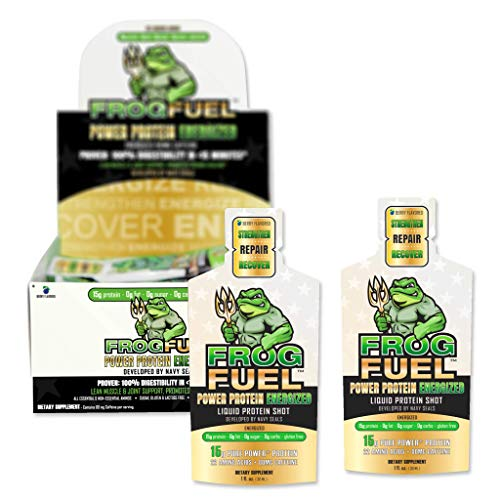 FrogFuel Energized Power Liquid Protein Shot, Energy Shot - Berry - 24 1oz Nano Hydrolyzed Collagen Liquid Protein Shots. Proven 100% Digestibility in <15 Minutes. Complete Protein. Not a Protein Gel.]()