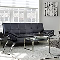 Merax Sofa Bed Convertible Futon with PU Material (Black)