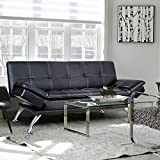 Merax Convertible Futon Sofa Bed Recliner Couch with Adjustable Armrest (Black)