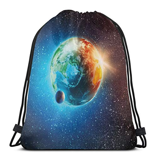 2019 Funny Printed Drawstring Backpacks Bags,Majestic Galaxy Outer Space View Universe With Planet Earth Stars Astral Theme,Adjustable String Closure