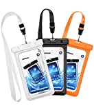 Mpow Waterproof Case, New Type PVC Waterproof Phone Pouch, Universal Dry Bag for iPhone 7/7 Plus, Galaxy /Google Pixel/LG/HTC (3-Pack Black, Orange, White)