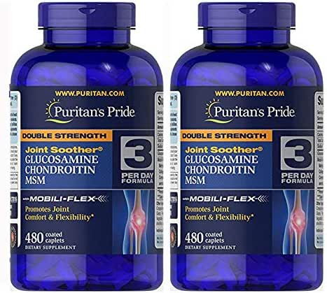 Puritan's Pride Double Strength Glucosamine, Chondroitin & MSM Joint Soother-480 Caplets - 2 Pack