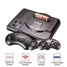 GooDGo HD Game Console, Wireless Controller, Black Card 16-Bit, Supports 4K HDTV HDMI AV Output, with 2 Wireless Controller 1 Wired Controller, Compatible with All Sega MD Card Game