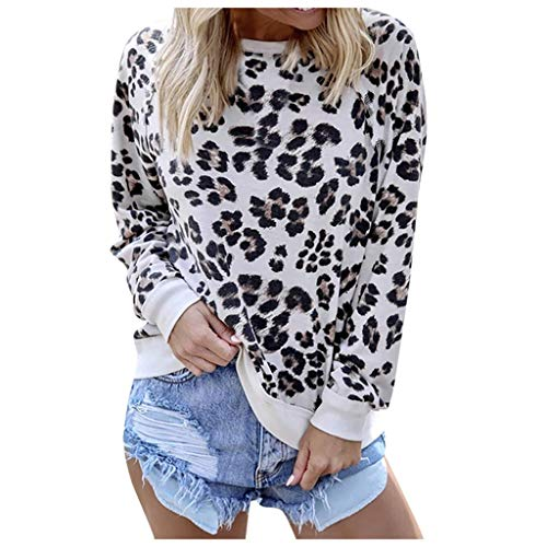 Lutos Womens Round Neck Leopard Casual Print Tunic Basic Long Sleeve Shirt Tops Soft Blouse
