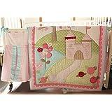 Pink Castle 9 Pieces Set Baby Bedding Set Crib Bedding Set Nursery Crib Bumper bedding with Diaper bag Blanket