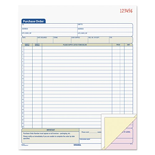 (TOPS Purchase Order Book, 3-Part, Carbonless, 8-3/8 x 10-3/16 Inches, 50 Sets per Book (46147))
