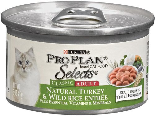 Purina Pro Plan Selects Adult Cat Food, Natural Turkey and Wild Rice Entrée, 3-Ounce Cans (Pack of 24), My Pet Supplies