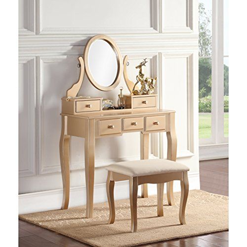 ModHaus Living Modern Transitional Wood Vanity Table and Stool with 5 Drawers and Oval Mirror - Includes Pen (Gold)