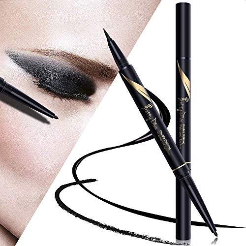PrettyDiva DUO Liquid Eyeliner - Double Head Liquid Eyeliner Pen with Kohl Eyeliner, Waterproof Smudgeproof Gel Eyeliner Pencil for Smokey Cat Eye - Black (Best Eyeliner For Contact Wearers)