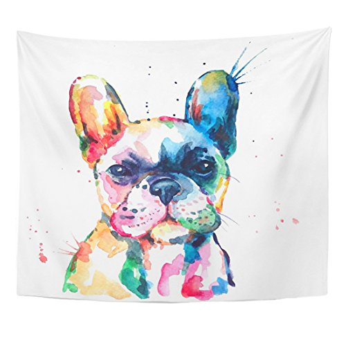 Emvency Tapestry Frenchie French Bulldog Original Watercolor of Dog Funny Happy Home Decor Wall Hanging for Living Room Bedroom Dorm 50x60 Inches