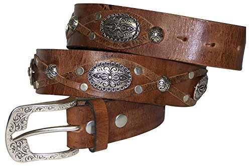 FRONHOFER Bold boho-style women's leather belt, decorative studs, brown, Size:waist size 37.5 IN L EU 95 cm, Color:Brown by Fronhofer