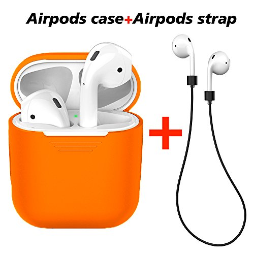 LabelBro Airpods Case AirPods Protective Silicone Cover with Anti-Lost Silicone Airpods Strap for Apple Airpods Charging Shock Proof Case (Orange)