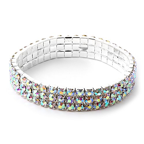 is Square Rhinestones 3 Strand Stretch Bracelet (Aurora Borealis Flower)
