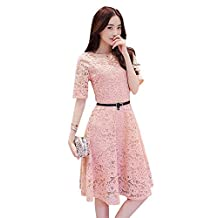 Drasawee Women Fit Knee Length Full Lace Cocktail Dress With Belt