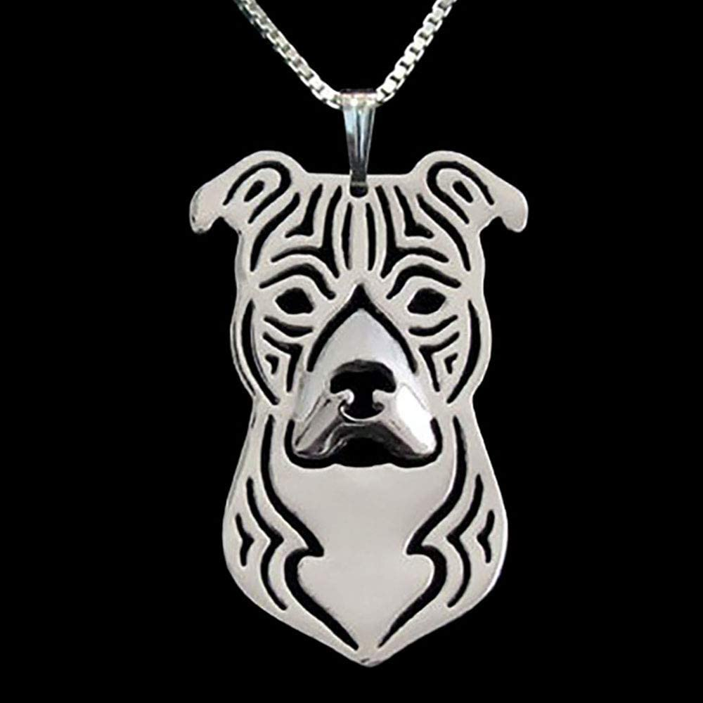 Dog Mom Gift Staffie Lover Dog Breed Jewelry Sterling Silver Staffordshire Terrier Pit Bull Pendant Necklace with Paw Print Heart Charm