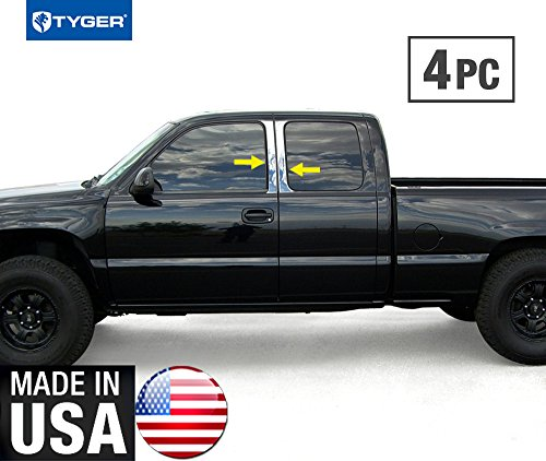 Made in USA! Fit 99-06 Chevy Silverado Extended Cab 4PC Stainless Steel Chrome Pillar Post (Pillar Chevy Side)