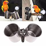 Bird Seed Feeder Cups Food Water Feeding Bowls with Clip for Parrot Budgie