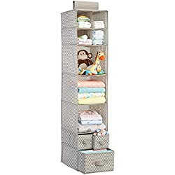 mDesign Chevron Fabric Baby Nursery Closet Organizer for Clothing, Diapers, Blankets, Toys - Hanging, 7 Shelves and 3 Drawers, Taupe/Natural