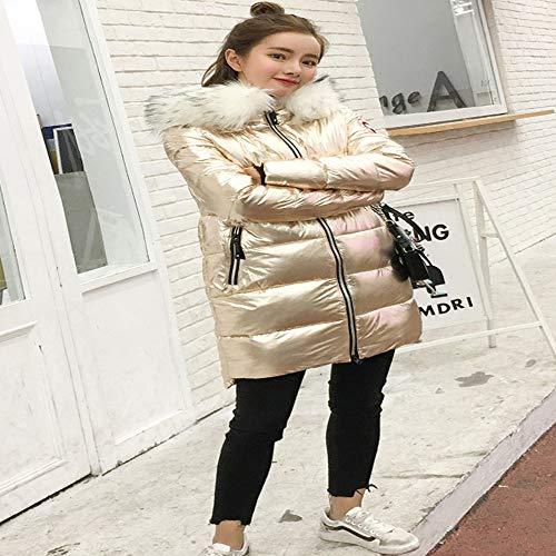 Cappuccio Medio Da Alta Caldo Cappotto Qualità Donna argento L Piumino Di Fxchen Con qU8wTf6