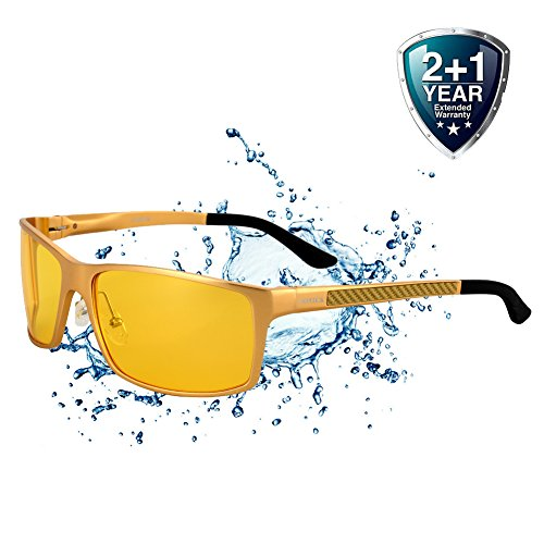 Driving Glasses for Men Anti Glare Polarized HD Safety Glasses at Night Yellow - Parts Sunglasses Spare