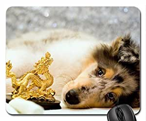 Dog and gold dragon Mouse Pad, Mousepad (Dogs Mouse Pad)
