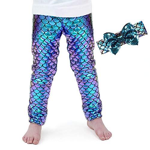 Kids Baby Girls Mermaid Leggings Headband Set Stretch Long Tight Fish Scale Pants (3-4 Years) Blue]()