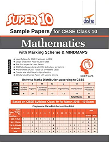 Super 10 Sample Papers for CBSE Class 10 Mathematics with