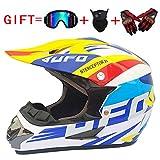 yaning Motocross/ATV/Dirt Bike 3-pc Gear Combo Set - Helmet, Gloves & Goggles - DOT Certified (4 Size, Multicolor)