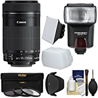 Canon EF-S 55-250mm f/4.0-5.6 IS STM Zoom Lens with Flash + 3 Filters + Diffusers + Hood + Kit for EOS 70D, Rebel T3, T3i, T4i, T5, T5i, SL1 DSLR Cameras