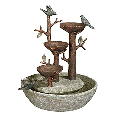 """Grasslands Road 464246, Multicolor Bird Nest Cement Fountain, 12""""/Medium - Cement blended with resin to enhance the sculpted details; plastic water pump Measures 12 1/4 inches tall and 10 3/4 x 9 3/4 inches wide A beautiful home accessory for indoor use - patio, outdoor-decor, fountains - 51ibOCiPDJL. SS400  -"""
