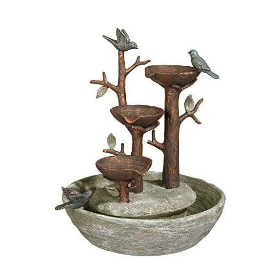 "Grasslands Road 464246, Multicolor Bird Nest Cement Fountain, 12""/Medium - Cement blended with resin to enhance the sculpted details; plastic water pump Measures 12 1/4 inches tall and 10 3/4 x 9 3/4 inches wide A beautiful home accessory for indoor use - patio, outdoor-decor, fountains - 51ibOCiPDJL. SS570  -"