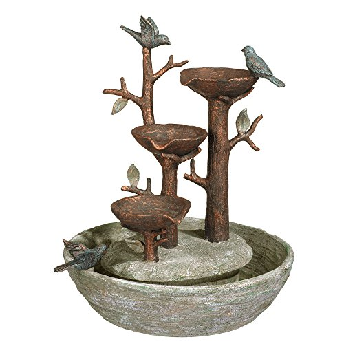 Grasslands Road Bird Nest Cement Fountain, 12″/Medium, Multicolor